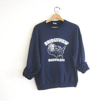 vintage Bridgeview Buffaloes sweatshirt. navy blue sweatshirt. slouchy sweatshirt. LeClaire, Iowa