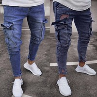 2018 Mens Skinny Stretch Denim Pants Distressed Ripped Freyed Slim Fit Zipper Jeans Trousers Daily Two Pockets Flat Full Length