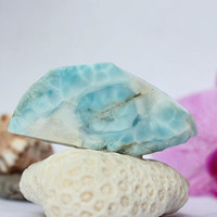 Dominican Aqua Blue Larimar 25g 125ct Slab Lapidary Cabbing Pectolite Rough Raw Slice Caribbean Beach Stone