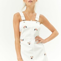 Floral Embroidered Denim Overall Dress