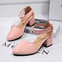 Summer Stylish Design Korean Pointed Toe High Heel Shoes Roman Hollow Out Sandals [9432940490]