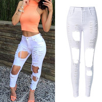 Womens Sexy Skinny Holes Ripped Jeans Stretchy Long Pencil Denim Pants Trousers