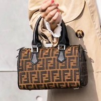 Fendi Fashion New Letter Leather Shopping Shoulder Bag Handbag Women Coffee
