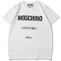 Moschino 2019 new print logo men and women round neck shirt T-shirt white