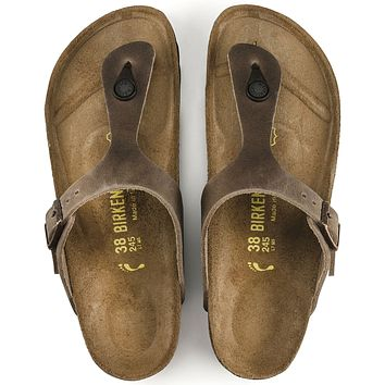 Gizeh BS Oiled Leather Birkenstocks| Tobacco Brown