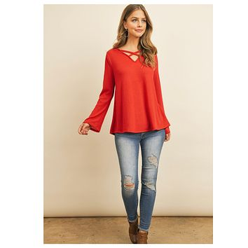 Adorable Me! Criss Cross V Neck Dusty Red Hacci Knit Top