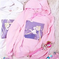 Sailor moon sleeping crying hoodie girl heart print loose hooded long sleeves anime