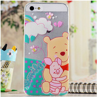 Cute Winnie The Pooh Bear & Piglet Cartoon TPU Transparent Soft Phone Back Case Shell Cover for iPhone 5 5S SE