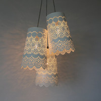 Baby's Breath - Upcycled Metal Lace Planter Chandelier - Rustic Hanging Pendant Lighting Fixture - BootsNGus Lamps Design