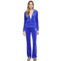 Juicy Couture Studded Logo Crown Velour Tracksuit 6129 2pcs Women Suits Blue