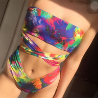 2017 New Multicolor High Cut Strapless Swimwear -03116