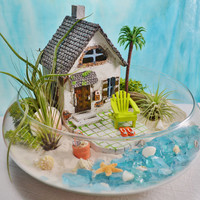 "Beach House Terrarium Kit ~ Beach House and Beach Chair ~ 3 Air plants ~ 10"" Glass Bowl ~ Beach Bucket and Flip Flops ~ Beach Decor ~ Gift"