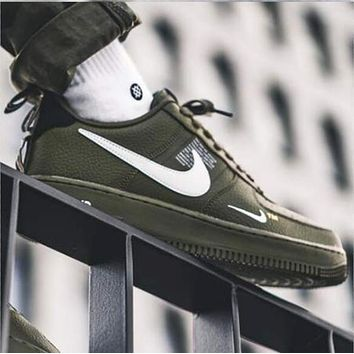 NIKE AIR FORCE 1 07 LOW Trending Women Men Stylish Running Sports Shoes Sneakers Army Green