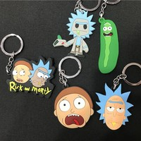 Rick and Morty Key Buckle Silicone Double-sided Pendant Decoration Kid Toy Keychains