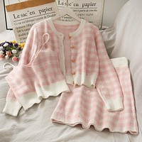 Sweet Plaid Three-Piece Women's New O Neck Single-Breasted Long-Sleeved Loose Sweater with Short Strap two piece set skirt