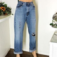 Polo Ralph Lauren jeans / high waisted distressed boyfriend jeans / 31 X 30 size 10 /