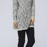Cowl Neck Tunic Sweater with Buttons - Gray