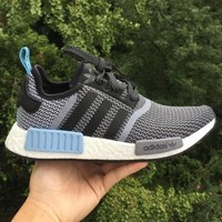 Adidas NMD Trending Unisex Leisure Running Sport Shoes Sneakers Grey Blue I