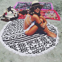 Black White Ethnic Towel Beach Printed Sunbath Towel Beach Yoga Mat