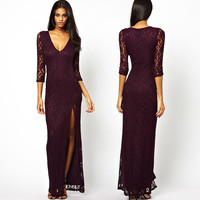 Sexy Trendy 3/4 Sleeve Slim Long Lace Gown Evening Cocktail Party Dress Womens