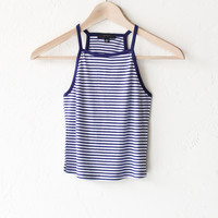 Striped Crop Tank Top - Navy