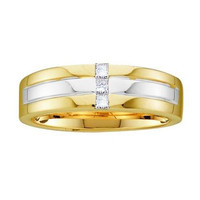 14KT Yellow Gold Two Tone 0.15CTW DIAMOND MEN'S FASHION BAND WITH 3STONE PRINCESS-CUT