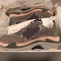 NEW BALENCIAGA TRIPLE S GREY EUR 45 US 12 GRAY SPEED RUNNER TRAINER SNEAKERS