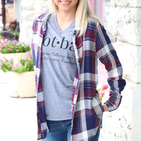 Checkered Plaid Button Down Long Sleeve {Navy+Burgundy}