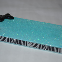 Glitter & Bow with Zebra Glitter iPhone 4/4S Case