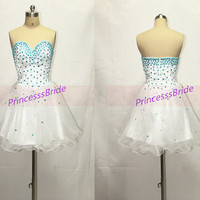 Short white tulle homecoming dress with rhinestones,cute sweetheart gowns for holiday party,2014 latest cheap prom dress hot.