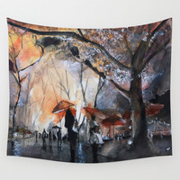 Autumn rain - watercolor Wall Tapestry by Nicolas Jolly