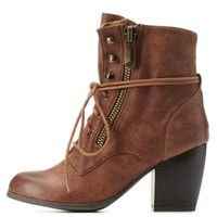 Cognac Chunky Heel Lace-Up Booties by Qupid at Charlotte Russe