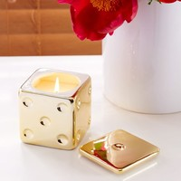 Gold Dice Filled Candle