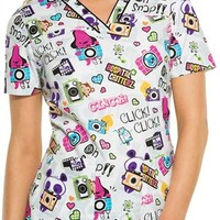 Buy Cherokee Tooniforms Women's Oh Snap! V-Neck Printed Scrub Top for $18.95