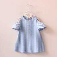 2017 new fashion style summer cotton princess dress striped clothing children vestidos