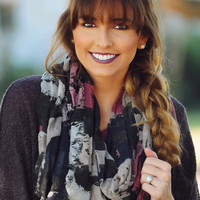Flower Patches Scarf: Gray/Multi