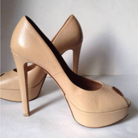 Authentic CHRISTIAN DIOR Miss Dior Leather Peep Toe Pumps (Size 39) - MSRP $710.