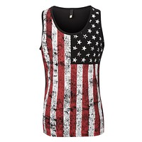 Mens Casual American US Flag Print Sleveless Tank Top T Shirt (CLEARANCE)
