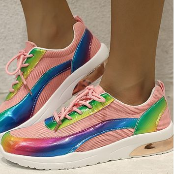 Women's shoes hot sale fashion platform flying woven sneakers