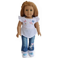 "Embroider Flower Tops+Jeans Doll Clothes For 18"" American Girl Doll Handmade"