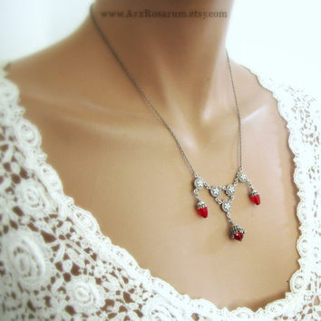 Victorian Necklace  Bright Ruby Red Blood Drops  by ArxRosarum