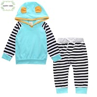 2017 2 pcs. Toddler Baby Boys Girls Clothing Newborn 3D Hooded Tops T-shirt + Striped Pants Outfit Set Clothing 0-18M DXT367
