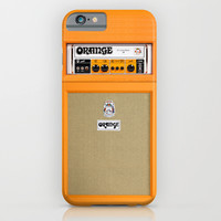 Retro Orange guitar electric amp amplifier iPhone 4 4s 5 5s 5c, ipad, tshirt, mugs and pillow case iPhone & iPod Case by Three Second