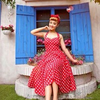 Red Vintage Rockabilly Polka Dot Retro Swing 50s 60s pinup Housewife Dress
