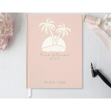 Wedding Guest Book, Hardcover, Palm Trees, Blush Pink, Choice of Sizes and Colors