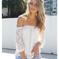 Free shipping New Women Sexy Lace Off-shoulder Shirts Loose Slash Neck Tops Fashion Summer Casual Blouse Clothes