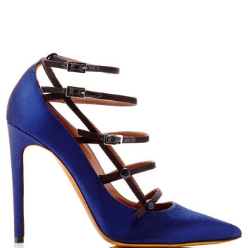 Navy & Black Satin Josephina Closed Court Pump by Tabitha Simmons Now Available on Moda Operandi