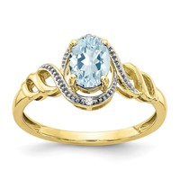 10K Yellow Gold Aquamarine Diamond Ring