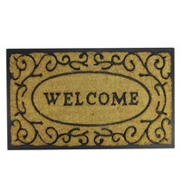 "Decorative ""Welcome"" Rubber and Coir Outdoor Rectangular Door Mat 29.5"" x 18"""