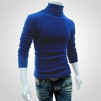 Fashion New 2017 Brand Winter Men Knitted Sweater Pullover Turtleneck Men Christmas Sweater Solid Slim Long Sleeve Sweaters